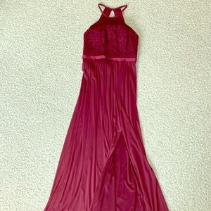 David's Bridal burgundy, long bridesmaid dress